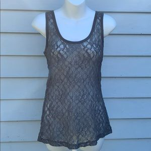 Silver Sheer Lace Tank Top